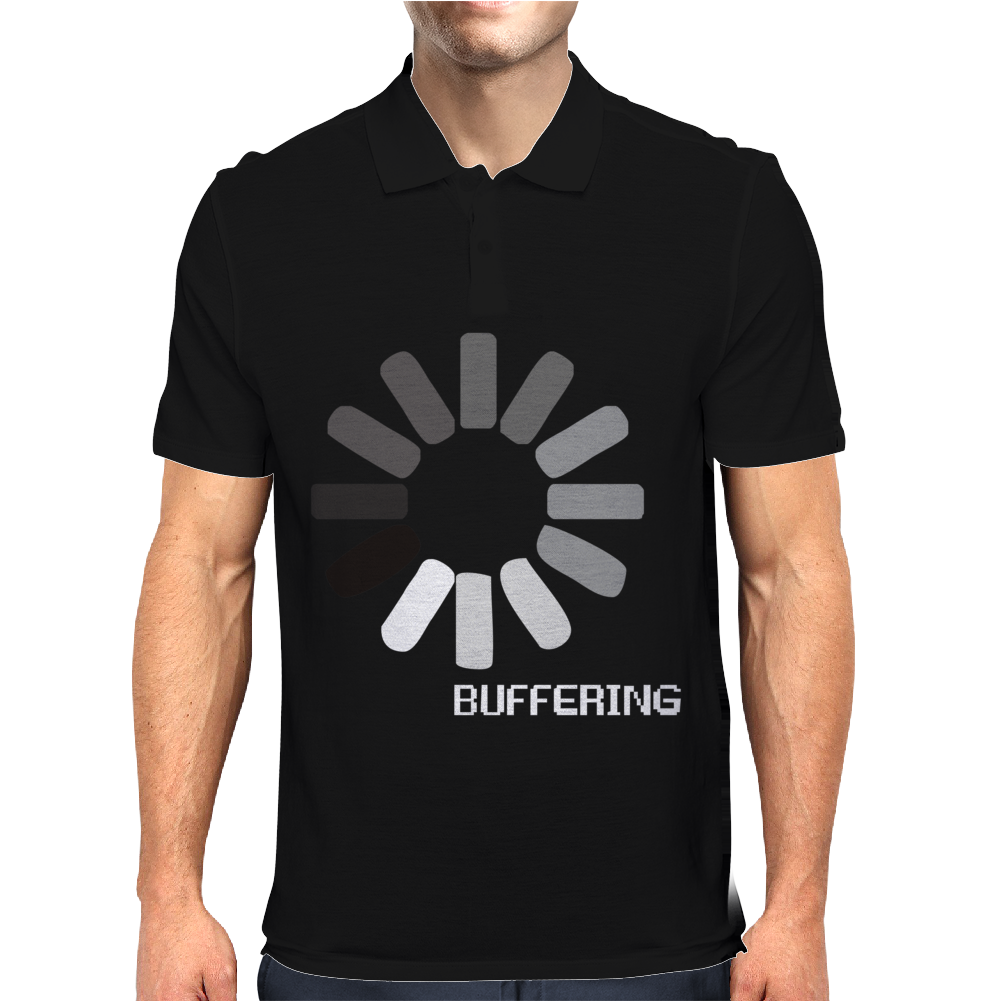 Buffering  Funny retro loading computer console fashion party Mens Polo