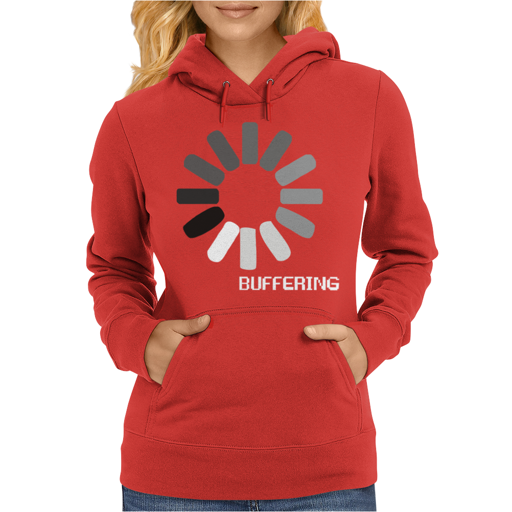 Buffering  Funny retro loading computer console fashion party Womens Hoodie
