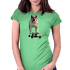 Bulldog on Longboard skate - Chief is on Board Womens Fitted T-Shirt
