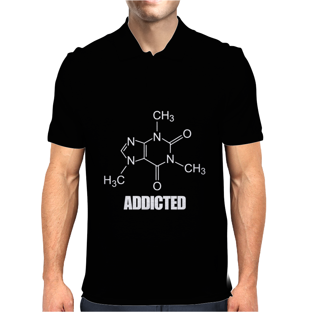Caffeine Addicted funny Mens Polo