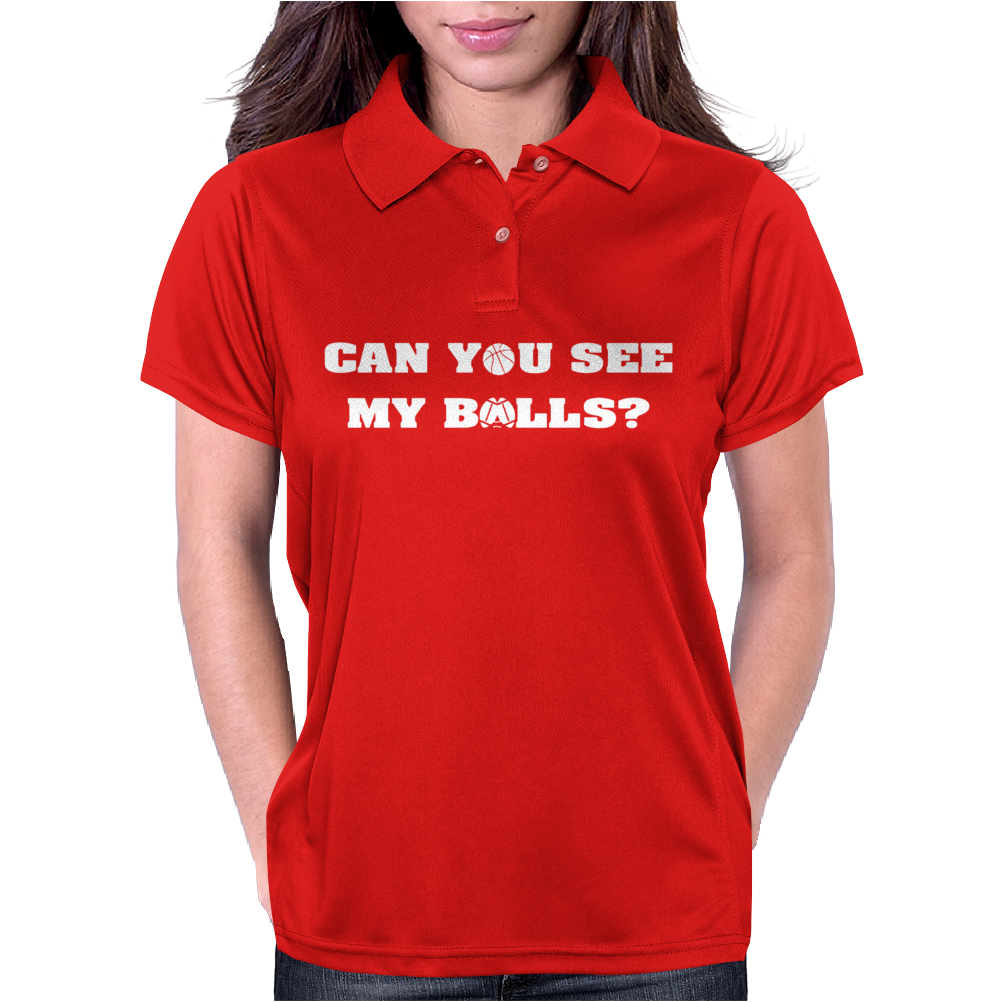 CAN YOU SEE MY BALLS SPORTS FOOTBALL BASKETBALL Womens Polo