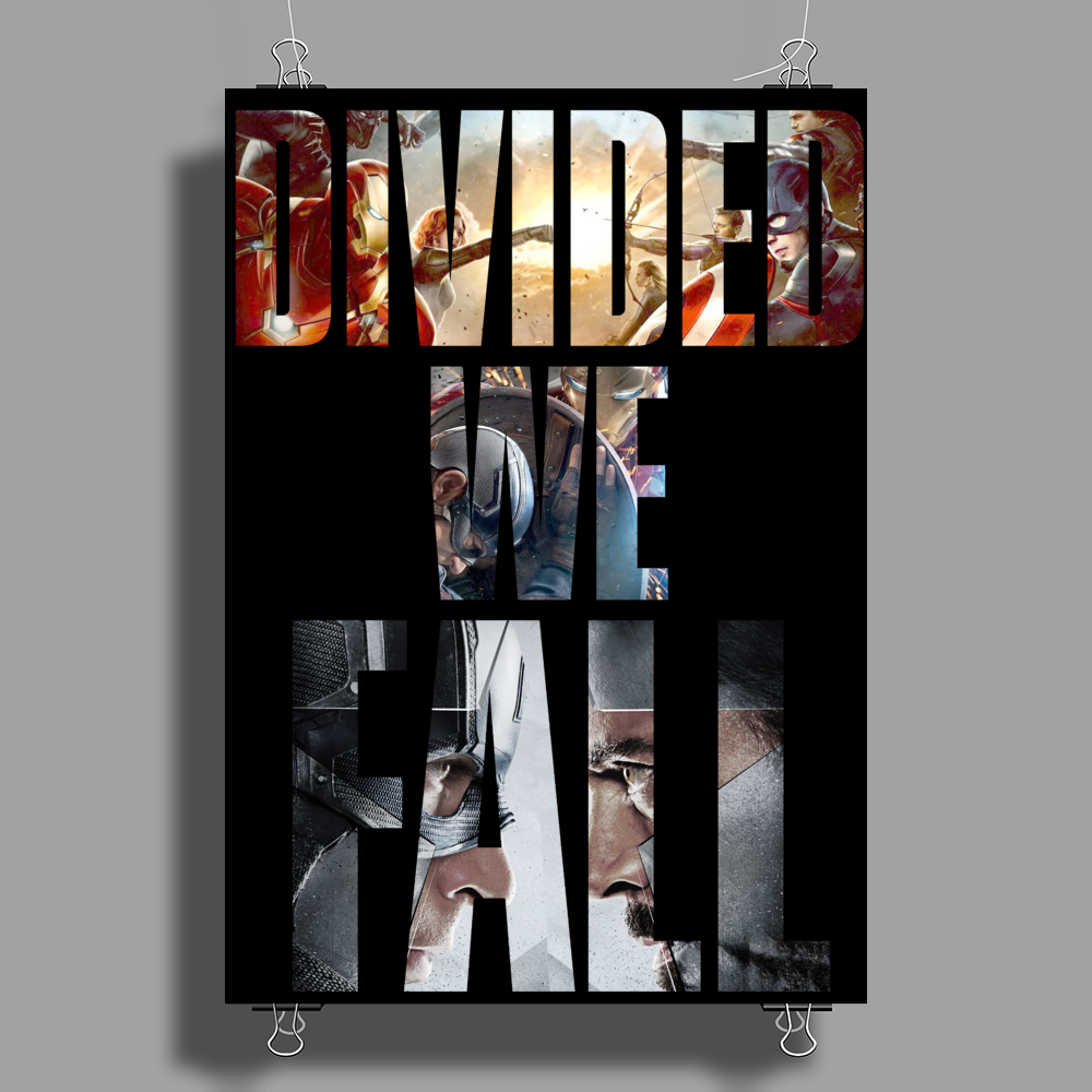 Captain America Civil War Divided we fall Poster Print (Portrait)