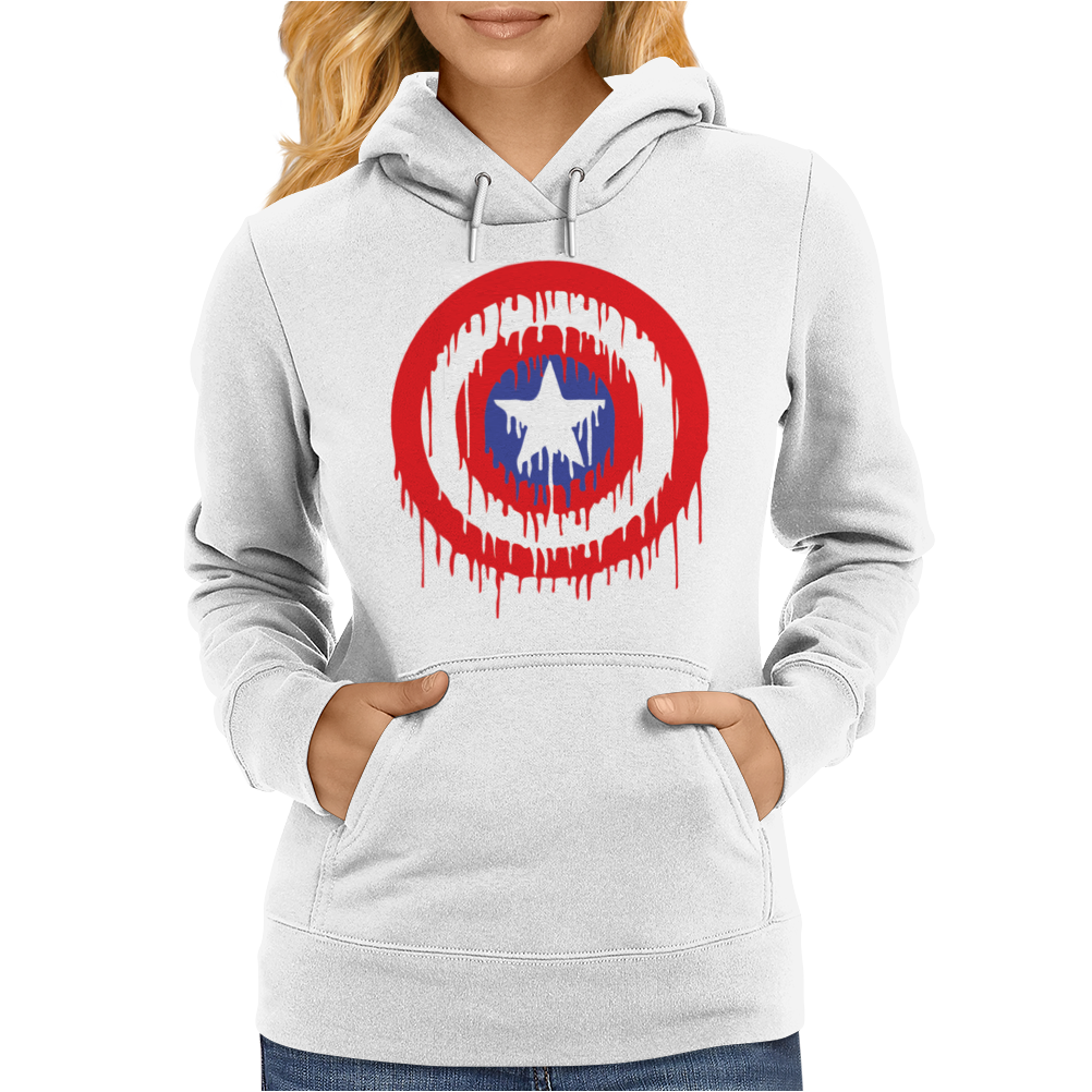 Captain America Dying Bleeding Logo Womens Hoodie