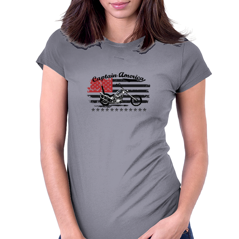 Captain America Motorcycle Womens Fitted T-Shirt