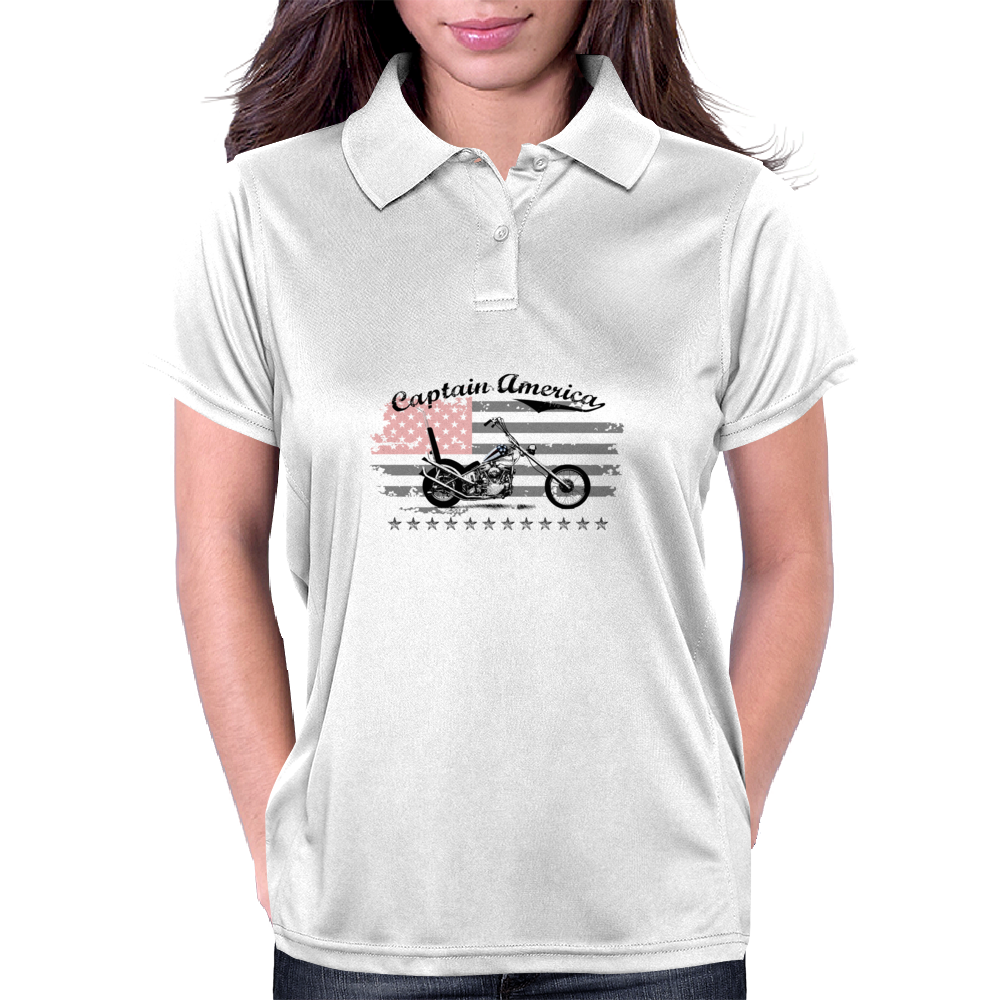 Captain America Motorcycle Womens Polo