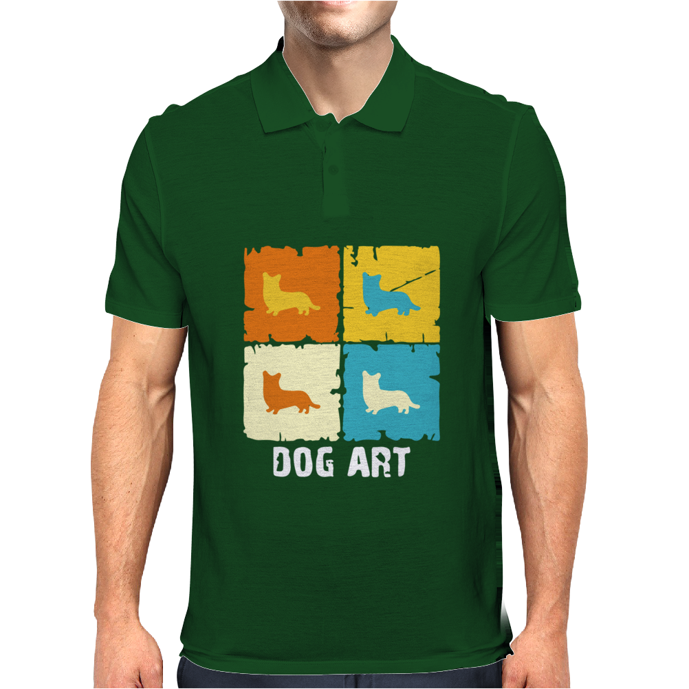 Cardigan Welsh Corgi Dog Art Mens Polo