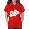 Cartoon Hands HEART Womens Polo