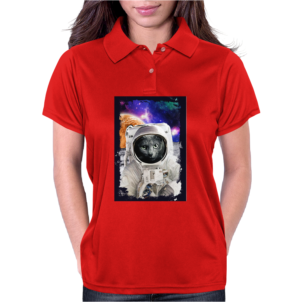 Cat Astronaut Womens Polo
