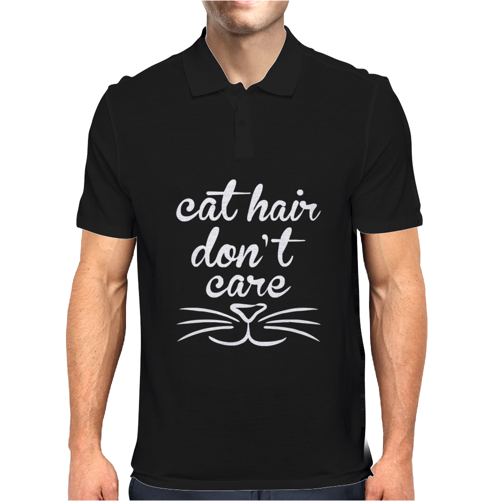 Cat Hair Don't Care Cute Crazy Cat Mens Polo