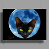 Cat Head in the Moon Poster Print (Landscape)