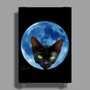 Cat Head in the Moon Poster Print (Portrait)