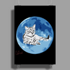 Cat on the Moon Poster Print (Portrait)