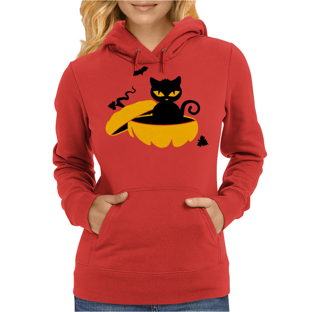 Cat Sits In A Pumpkin Womens Hoodie