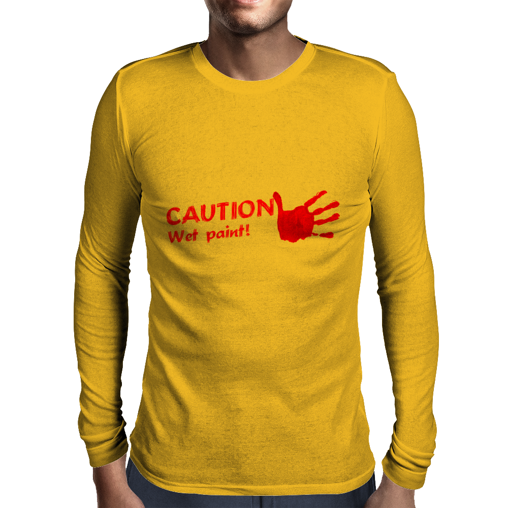 CAUTION wet paint Mens Long Sleeve T-Shirt