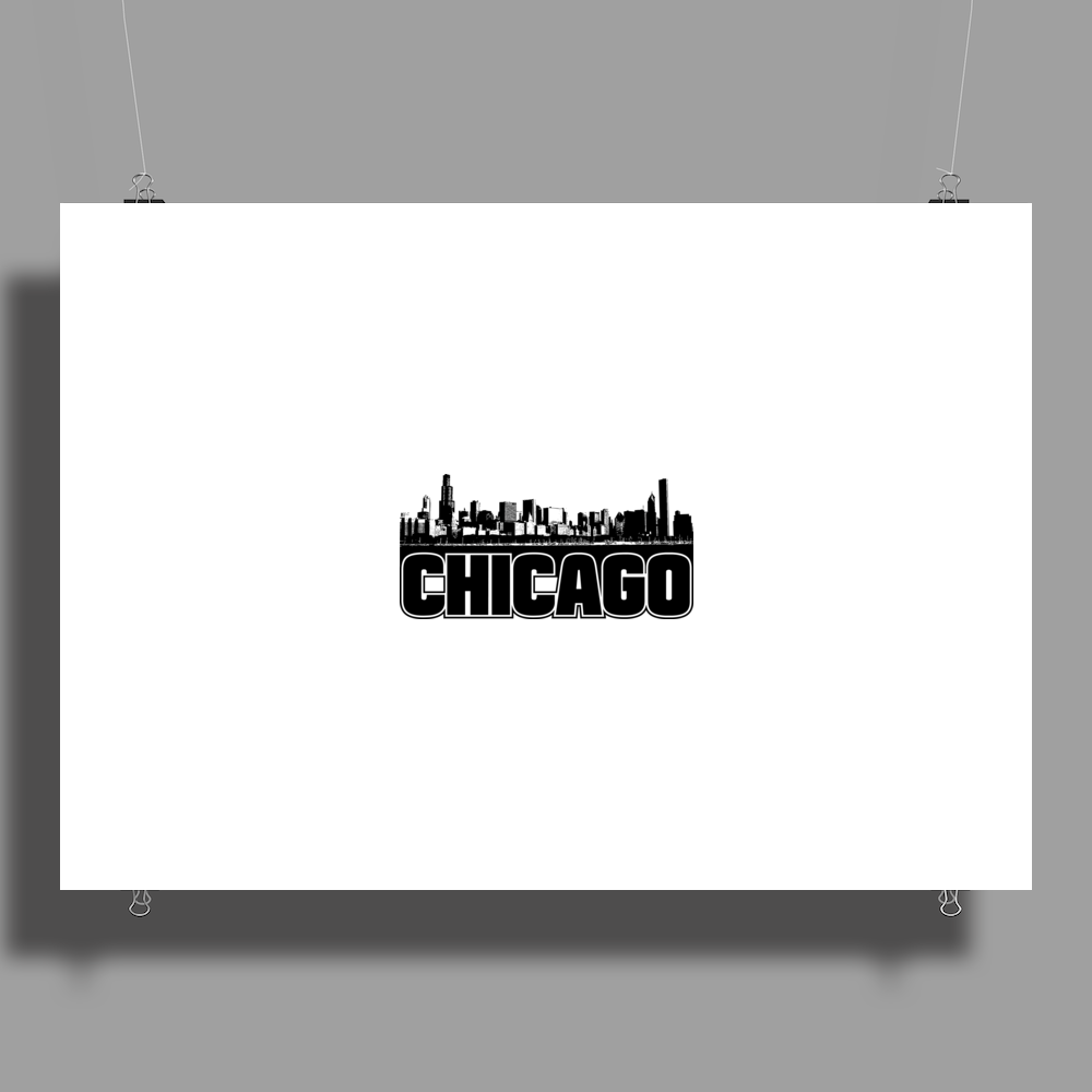 Chicago Skyline Graphic Poster Print (Landscape)