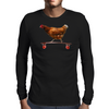 Chicken on Longboard skate Mens Long Sleeve T-Shirt