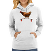 Chicken on Longboard skate Womens Hoodie