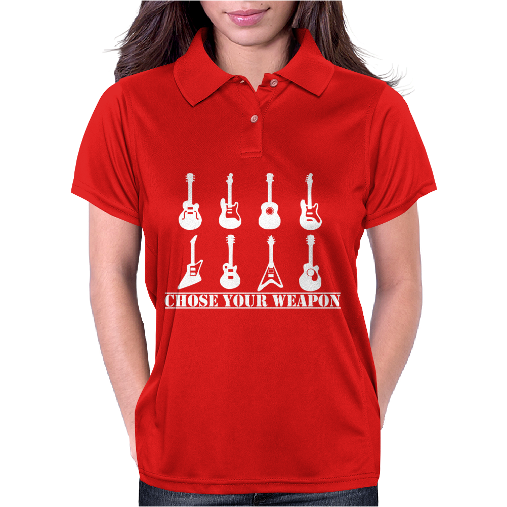 Choose Your Weapon Guitar  Funny  retro music guitarist metal Womens Polo