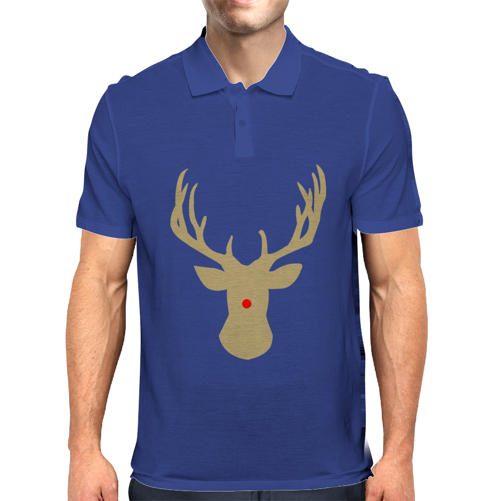 Christmas deer with a red nose Mens Polo