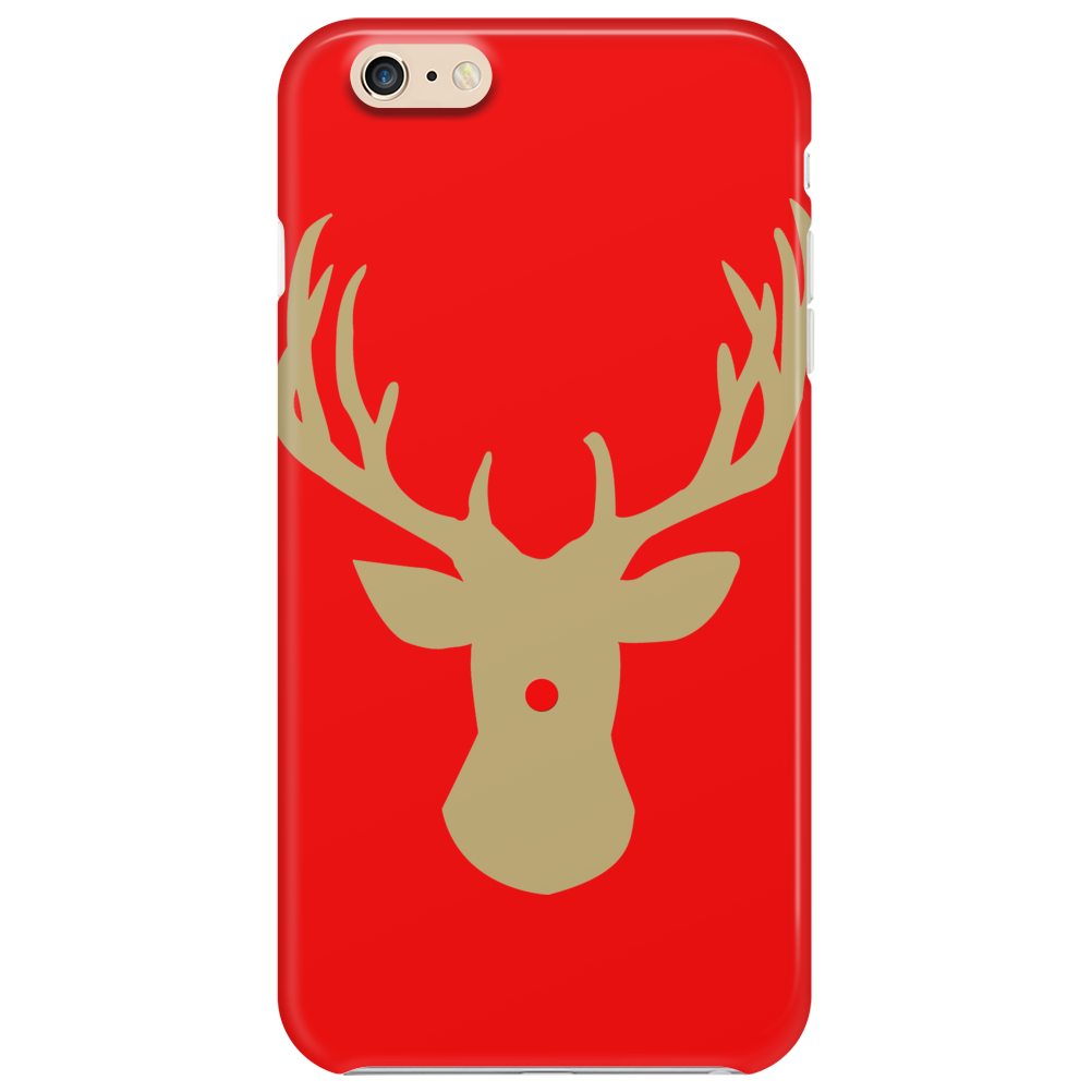 Christmas deer with a red nose Phone Case