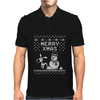 Christmas Funny Dog & Snowman Mens Polo