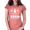 Christmas Scene Reindeer Funny Womens Fitted T-Shirt
