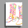 chromatic cowboy boots, colorful cowboy boots Poster Print (Portrait)