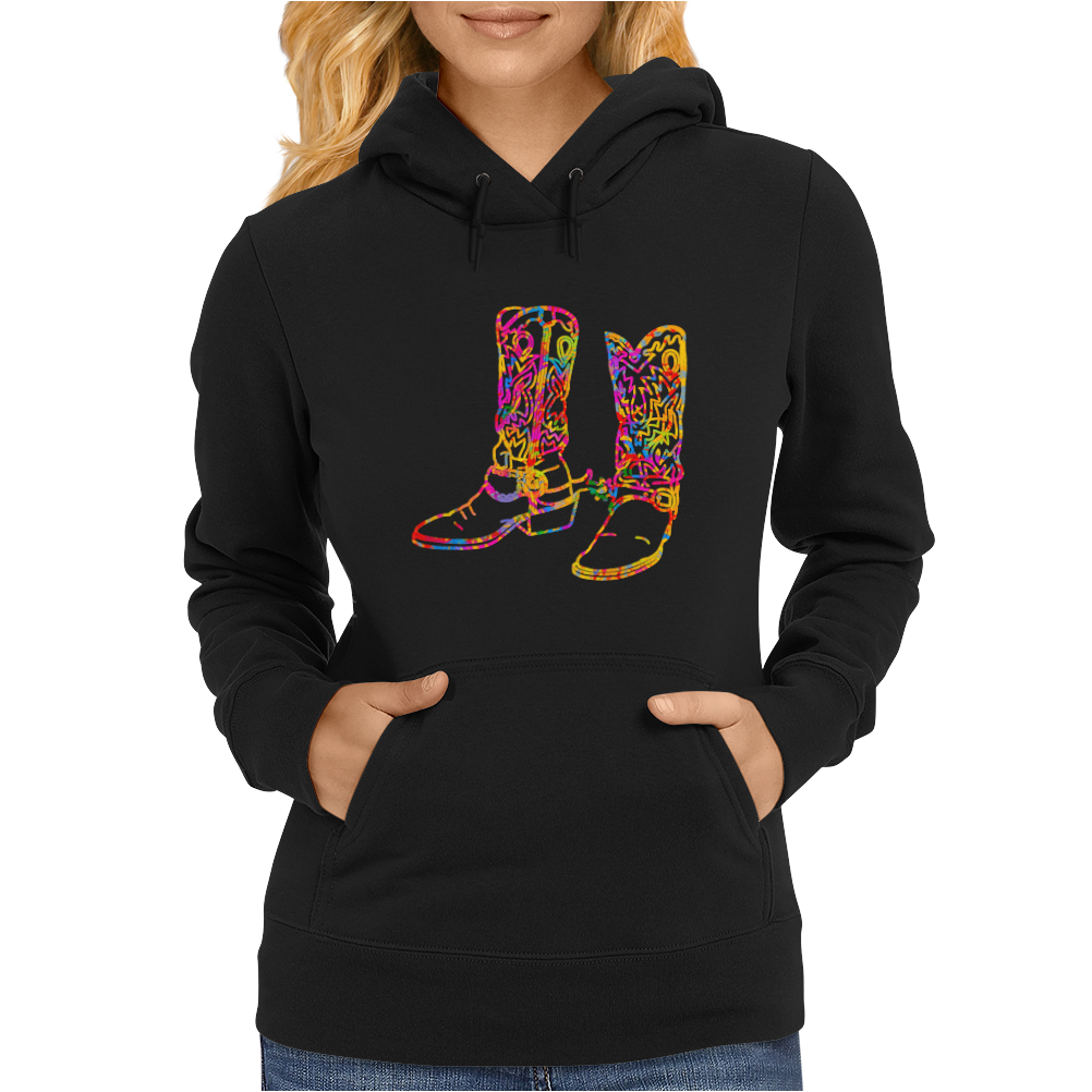 chromatic cowboy boots, colorful cowboy boots Womens Hoodie