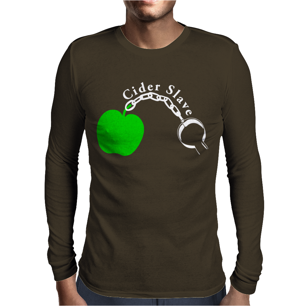 Cider Slave Drinking West Country Apple Scrumpy Rough Cyder Mens Long Sleeve T-Shirt