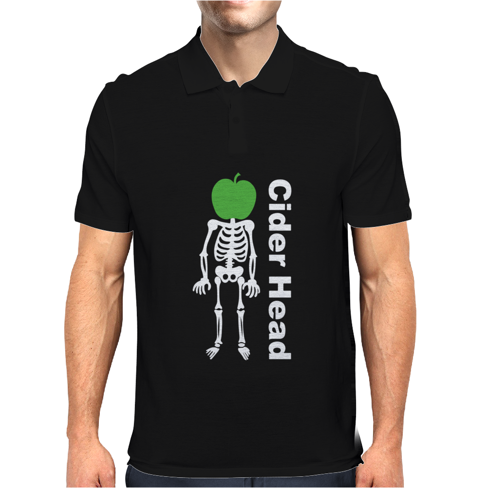 Ciderhead Cider Drinking Skeleton and Apple Mens Polo