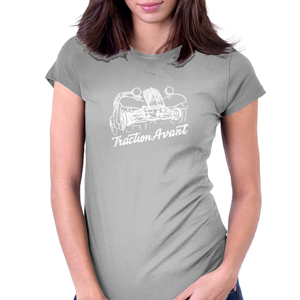 Citroën Traction Avant script emblem and subtle illustration Womens Fitted T-Shirt