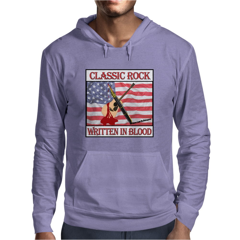 Classic Rock Written In Blood Mens Hoodie