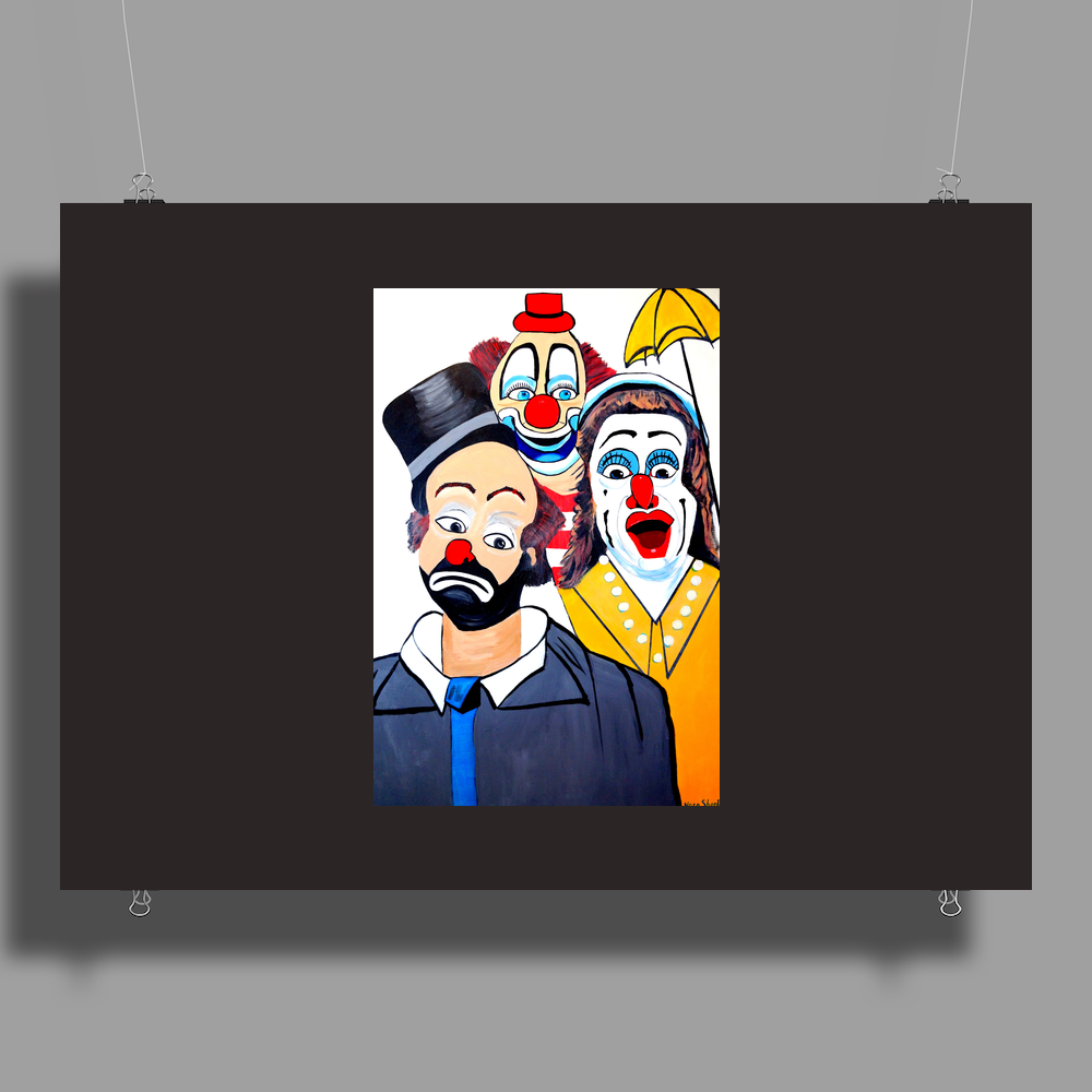 CLOWNS ABSTRACT   CLOWNS IN SHOCK Poster Print (Landscape)