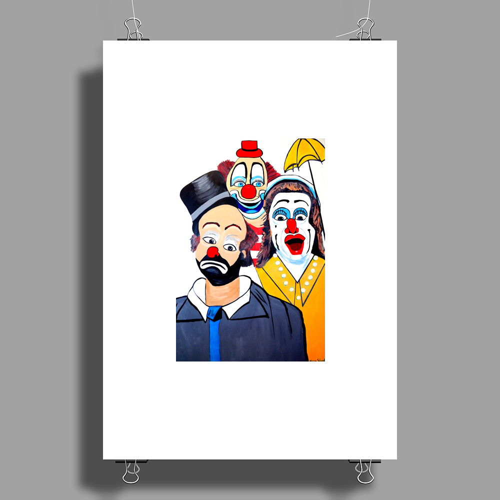 CLOWNS ABSTRACT   CLOWNS IN SHOCK Poster Print (Portrait)