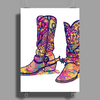 colorful bouquet cowboy boots Poster Print (Portrait)