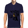 Colorful Owl in Tree Tribal Art Mens Polo