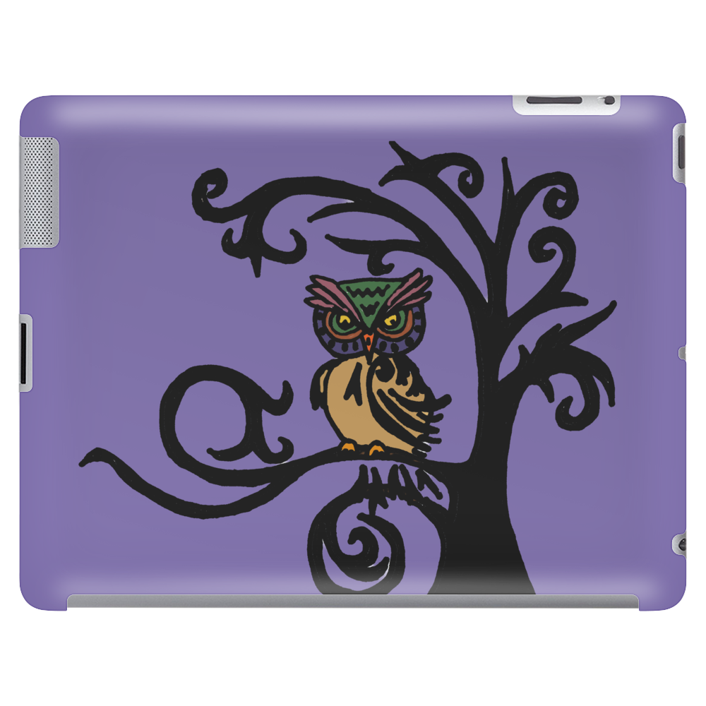 Colorful Owl in Tree Tribal Art Tablet