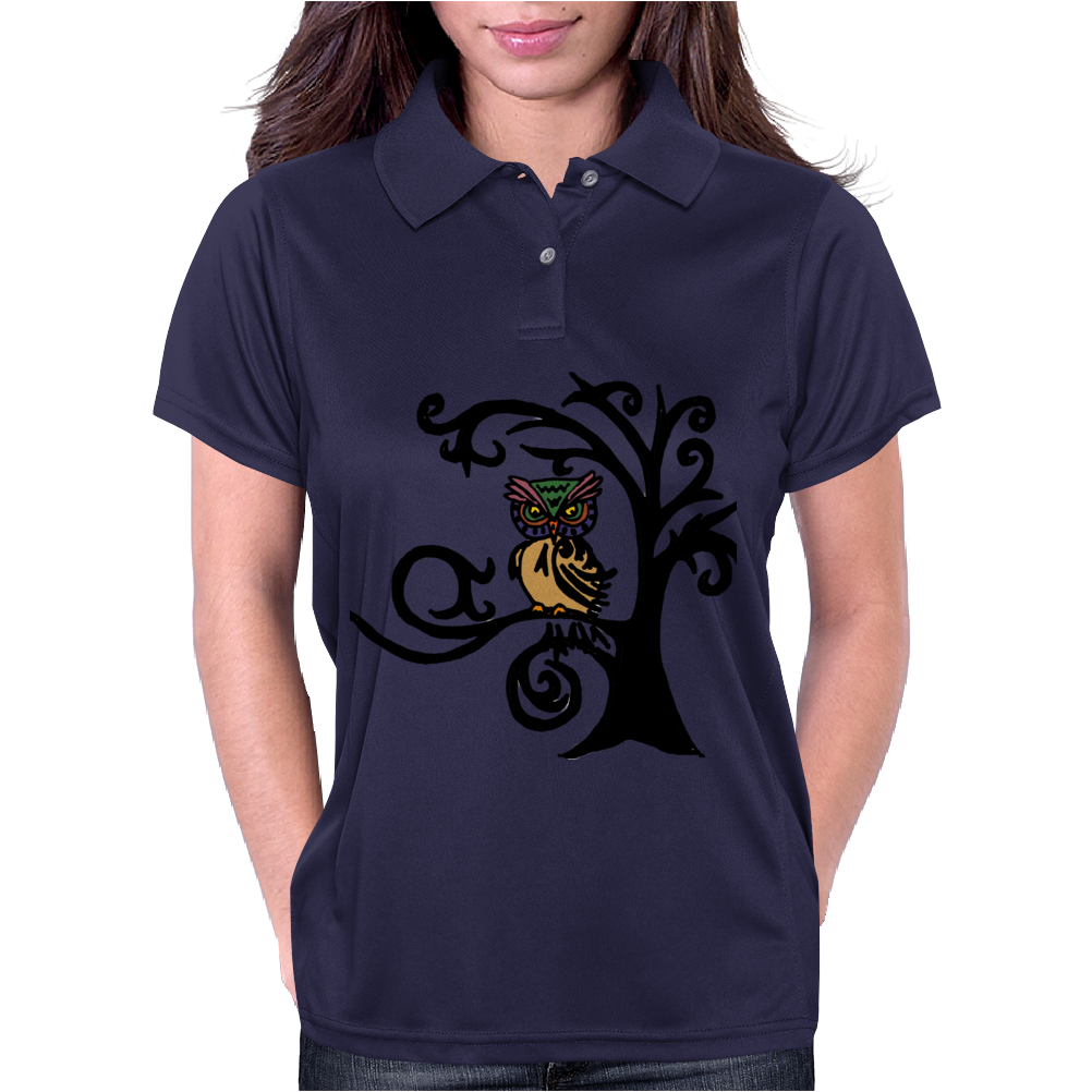 Colorful Owl in Tree Tribal Art Womens Polo