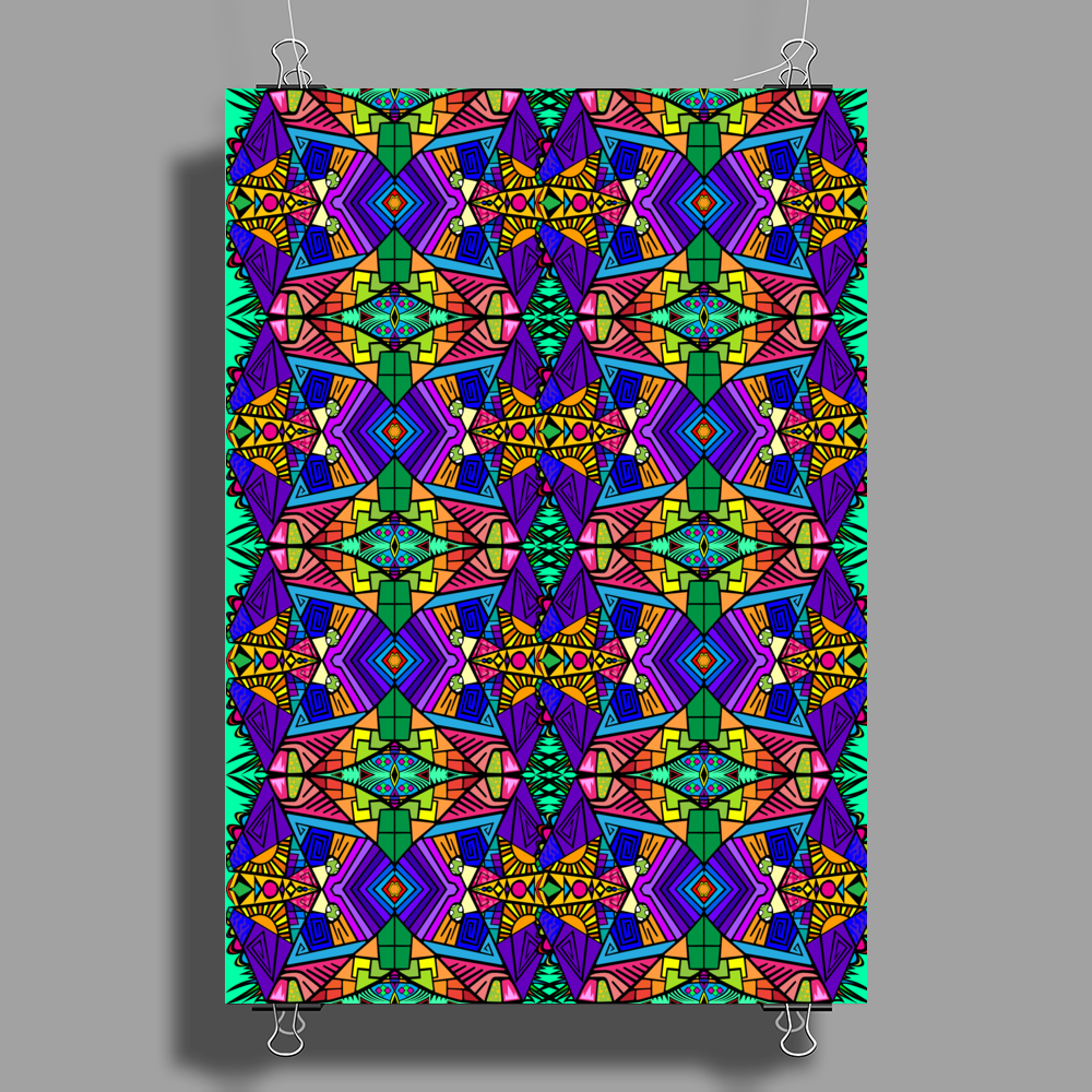 Colorful Psychedelic Pattern - Blue 2 Poster Print (Portrait)