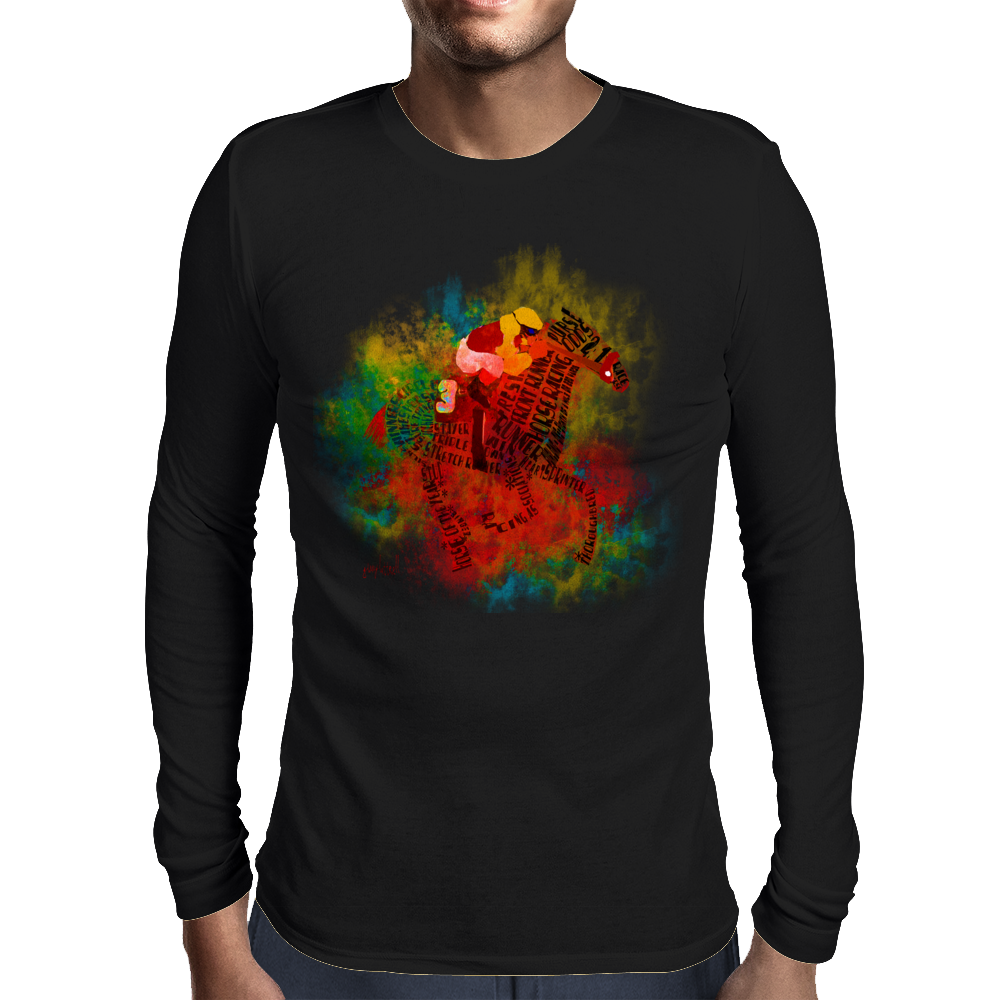 Colorful Racehorse in Typography Mens Long Sleeve T-Shirt