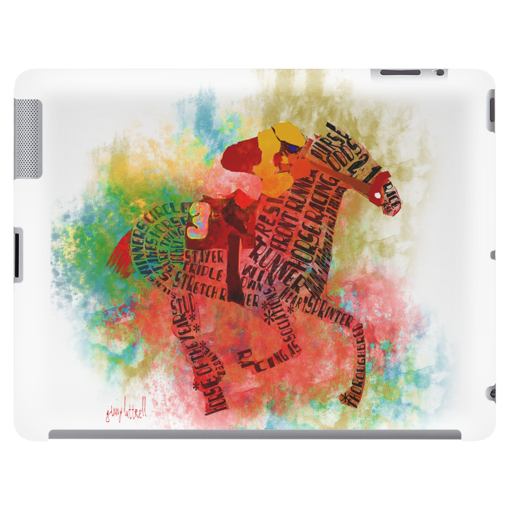 Colorful Racehorse in Typography Tablet (horizontal)