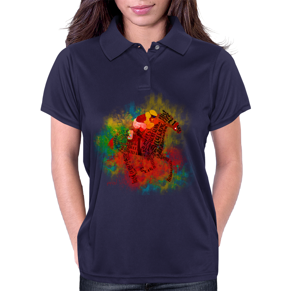 Colorful Racehorse in Typography Womens Polo