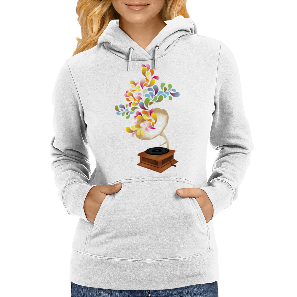 Colors by music - retro music player Womens Hoodie