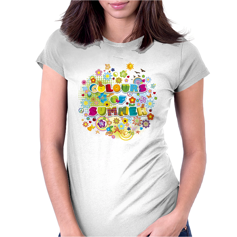 colours of summer flowers summer love butterflies butterfly Womens Fitted T-Shirt