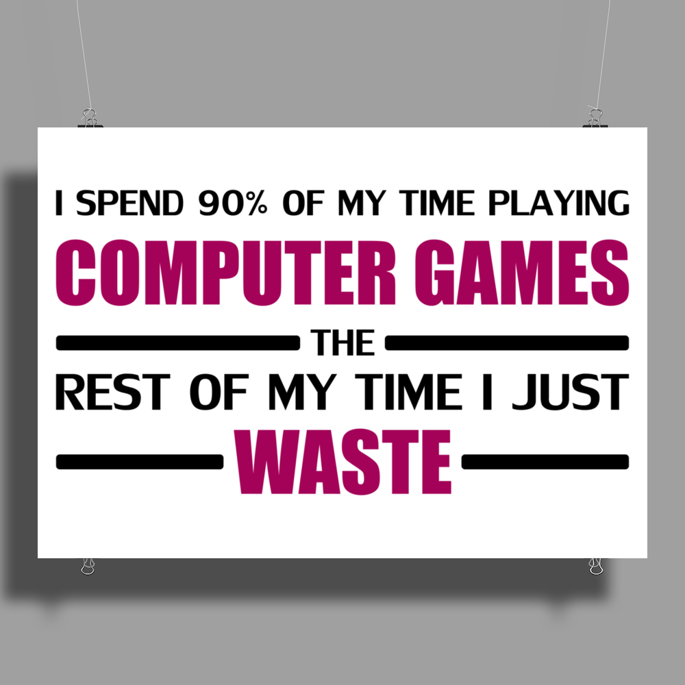 Computer Gaming - Maroon / blk Poster Print (Landscape)