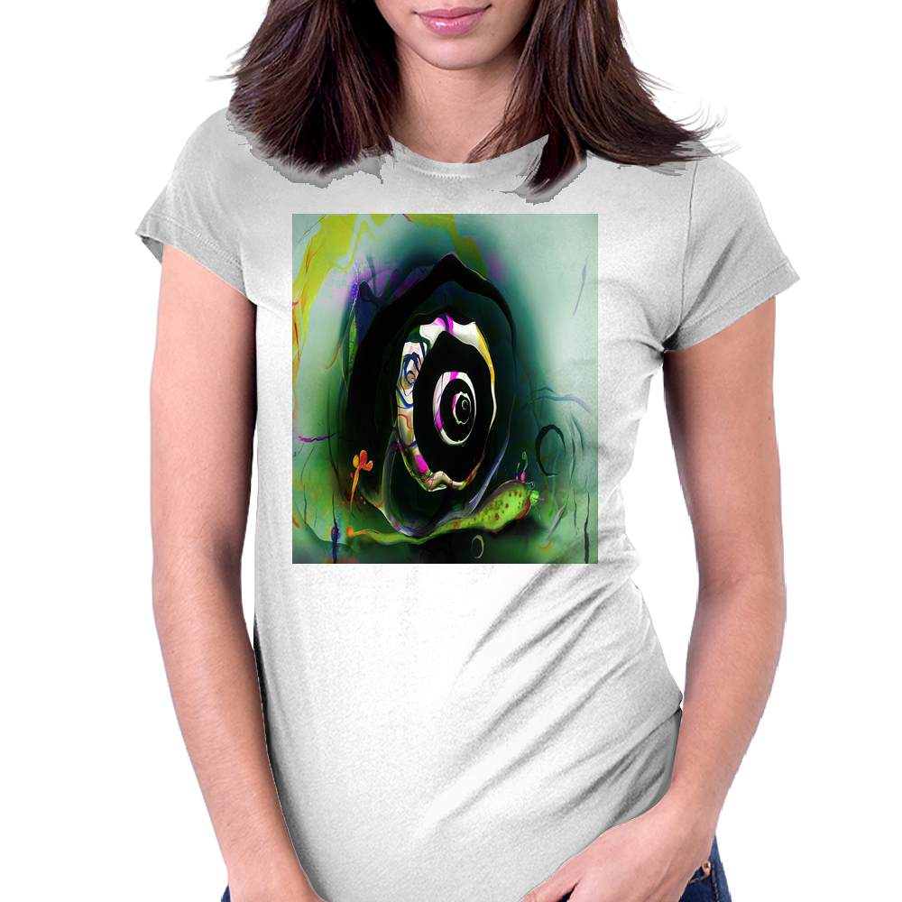 Cool 3D Snail Abstract Womens Fitted T-Shirt