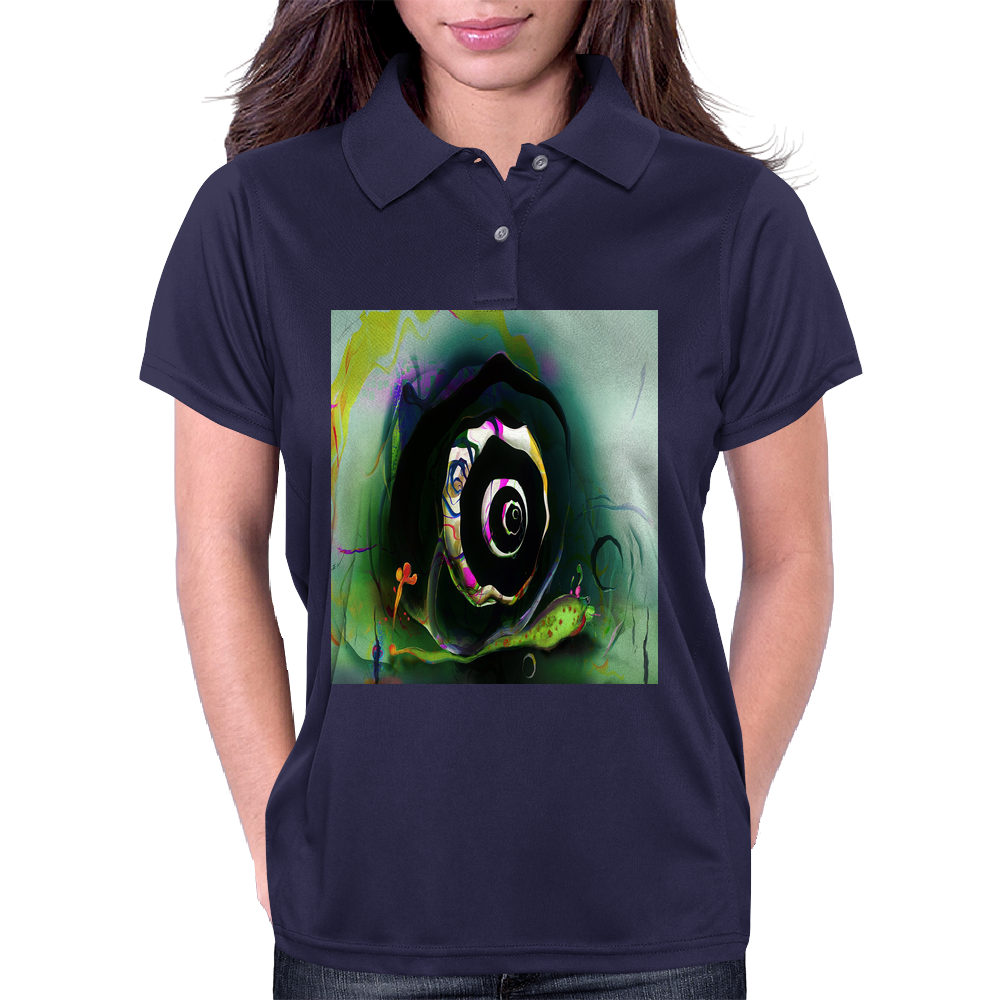 Cool 3D Snail Abstract Womens Polo