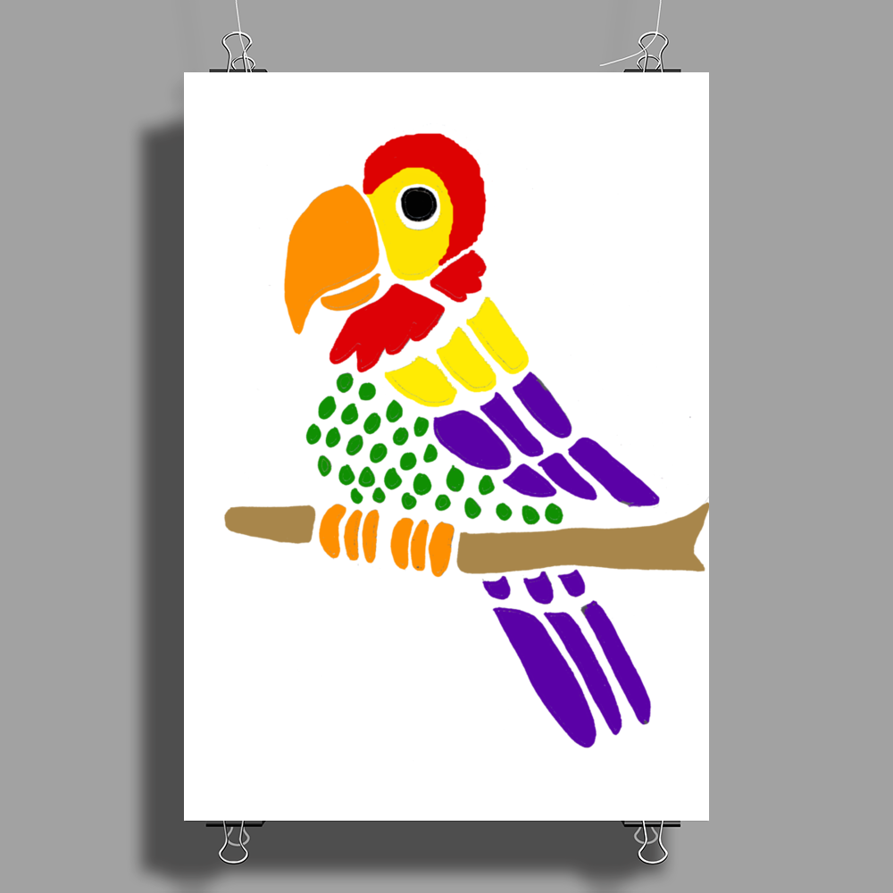 Cool Artistic Fun Parrot Abstract Art Poster Print (Portrait)