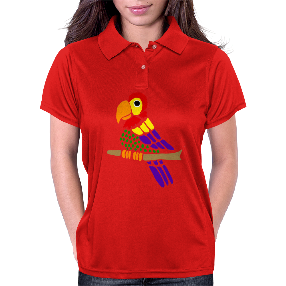 Cool Artistic Fun Parrot Abstract Art Womens Polo