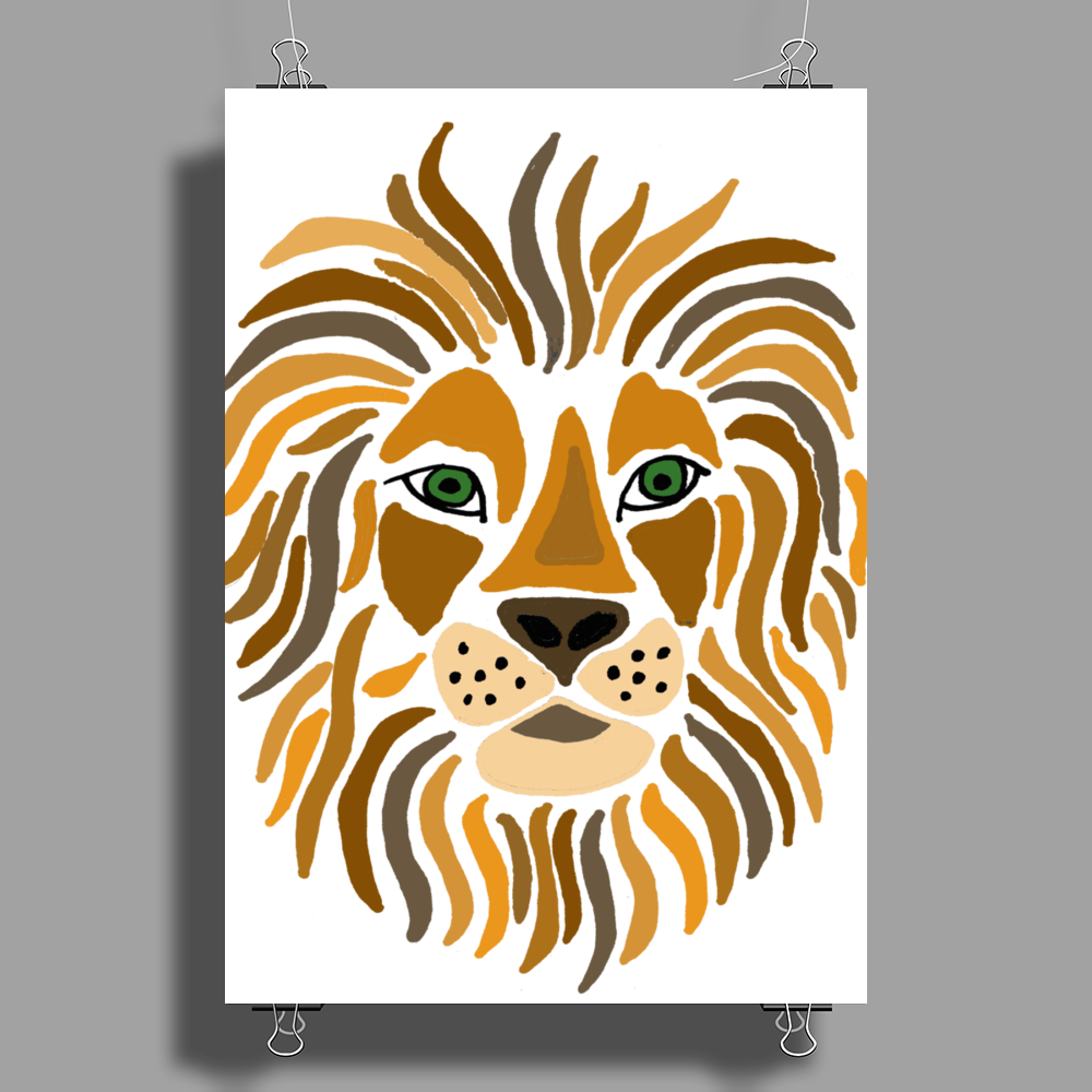 Cool Artsy Regal Lion Art Abstract Poster Print (Portrait)